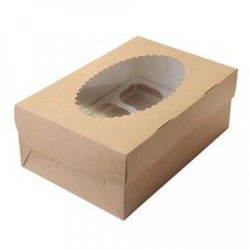 Коробка DoEco 160х160х100мм ECO MUF 4, с окном, коричн/белый 150  шт./уп. 150 шт./кор
