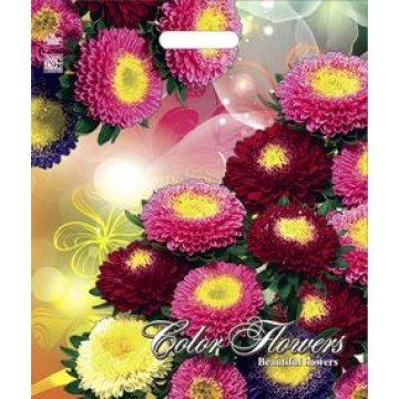 Пакет проруб. 38х45см, ПВД, Разноцветные цветы ламинированный 60мкм 50  шт/уп 500  шт/кор