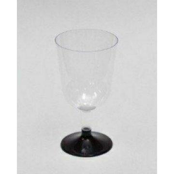 Бокал для вина 200мл Прозрачный (низкая черная ножка) 324шт (6шт/54уп)