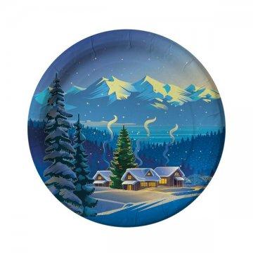 Тарелка бум. 230мм Зимний пейзаж (IP500) 500шт/кор
