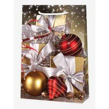 Пакет ламин.Подарки и новогодние украшения  25х35х9см, бум. 10 шт/уп 100 шт/кор