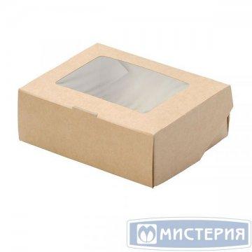 Коробка DoEco 100х80х35мм ECO TABOX 300 gl, с окном, коричн. 50 шт/упак 600 шт/кор