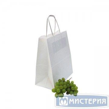Пакеты (220+120)х250мм,80г/м2, крафт белый с кручеными ручками 250 шт /уп 250 шт /кор.
