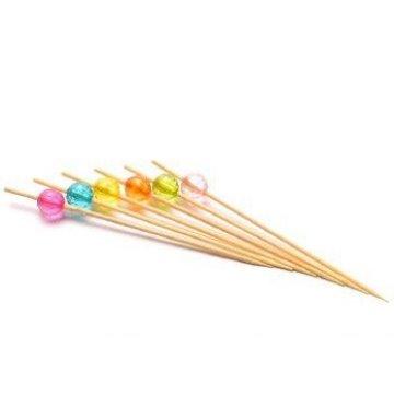 Пика бамбук Кристалл, круглые цветные 10см. (1уп.х100шт.) (х100)
