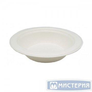 Тарелка 480мл, кругл., d 178мм, h 41мм, глубок., бел., сахарный тростник 125 шт/упак. 8 упак/кор