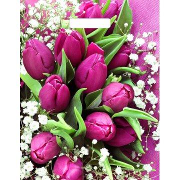 Пакет Розовые тюльпаны NEW-пакет вырубной 500шт/кор