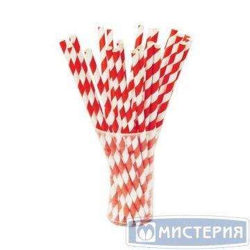 Трубочки бумажные Леденец цвет белый, красный d=6мм L = 195мм 250 шт/уп 4 уп/кор GVS-05