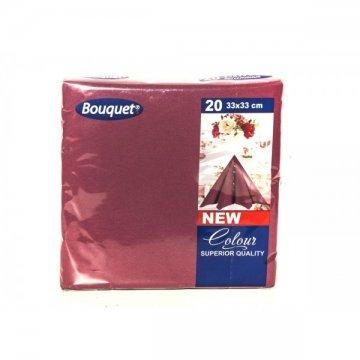 Салфетки 20л, Bouquet Solid Colour, 3-х слойные, бордовые