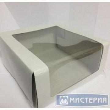Коробка Pasticciere 225х225х110мм КТ 110 (с окном), белый 50 шт./уп. 50  шт/кор