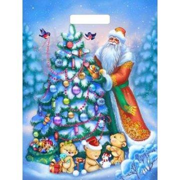 Пакет (мешок) прорубная ручка 31х40см 60мкм, Дед и мишки,  ламин. ПВД 50 шт/уп 500  шт./кор