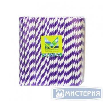 Трубочки бумажные с изгибом Фуксия, полоска, цвет фиолет.-бел.,d=6мм L=195мм 250 шт/уп 20 уп/кор