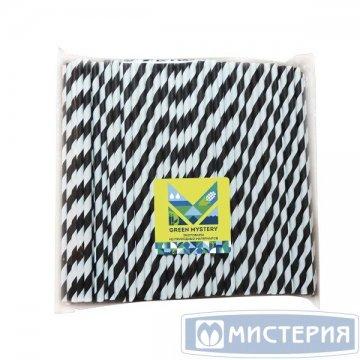 Трубочки бумажные Черно-белое кино, полоска, цвет черно-белый, d=6мм L=195мм 250шт/уп 20уп/кор