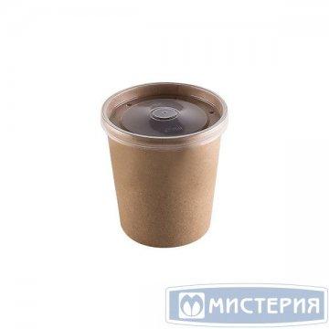 Упаковка DoEco d-75мм,h-60мм,230мл ECO SOUP 8C ECONOM, д/супа,крафт с пластик. крышкой  250шт/кор