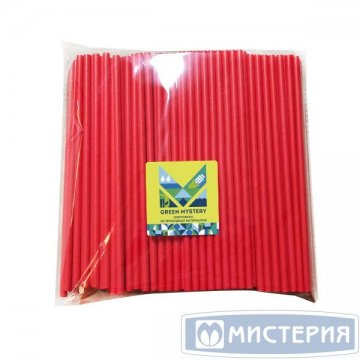 Трубочки бумажные Red, цвет красный, d=6мм L = 195мм 250 шт/уп 20 уп/кор