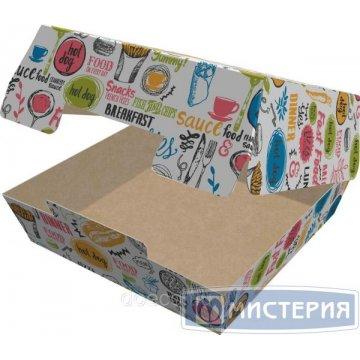 Коробка д/гамбургера, 120х120х70мм, ECO BURGER L ENJOY, с печатью, картон 150шт/уп 150шт./кор.