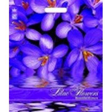 Пакет проруб. 38х45см, ПВД, Сиреневые цветы ламинированный 60мкм  50 шт./уп.  500 шт./кор