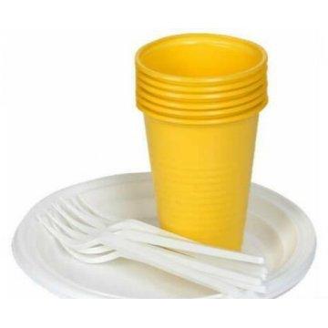 Набор Застолье (6 тарелок д-170-белых, 6 стаканов 200 мл цветных, 6 вилок белых)