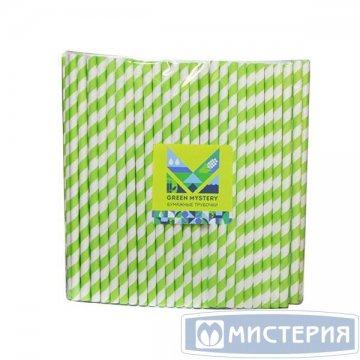 Трубочки бумажные Лиана, полоска, цвет зелено-белый, d=6мм L = 195мм 250 шт/уп 20 уп/кор