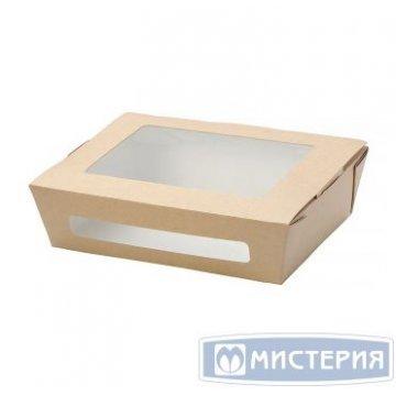 Коробка DoEco 190х150х50мм ECO SALAD 1000, с окном, коричн. (Салатник) 250 шт/упак 250 шт/кор
