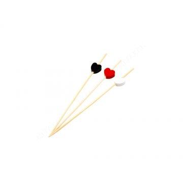 Пика бамбук Сердцекрасно-бело-черные 12см. (1уп.х100шт.) (х100)
