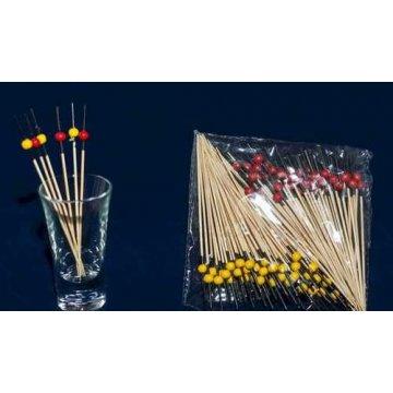 Пика Красно-желтые шарики. 50+50 бамбук 10см (х100)(х100)