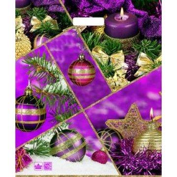 Пакет проруб. 38х46см, ПВД, Фиолетовый коллаж ламинат, 60мкм 50 шт./уп. 500 шт./кор