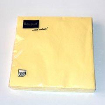 Салфетки 33х33см, 3сл., светлно-желт., бум. 20 шт/упак 12 упак/кор
