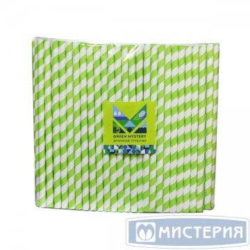 Трубочки бумажные Лиана, полоска, цвет зелено-белый, d=8мм L = 195мм 250 штук/уп 20 уп/кор