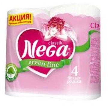 Туалетная бумага Nega Classik 2сл., целюлоза, 4шт./уп 4 рул/уп 12 упак/кор