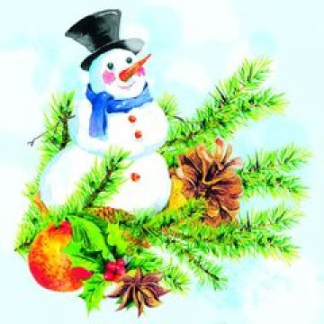 Салфетки 33х33см, 2 сл., с рис. Снеговик, многоцвет., бумага 20шт/уп 15уп/кор