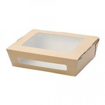 Коробка DoEco 190х150х50мм ECO SALAD 1000, с окном, коричн. (Салатник) 200 шт./уп. 200  шт/кор