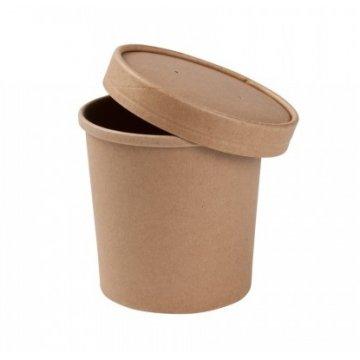 Упаковка DoEco d-90мм, h-110мм, 760мл ECO SOUP 26C ECONOM, для супа, коричн. с пл. кр. 250шт/уп