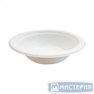 Тарелка 350мл, кругл., d 130мм, h 50мм, глубок., бел., сахарный тростник 50 шт/упак. 20 упак/кор.