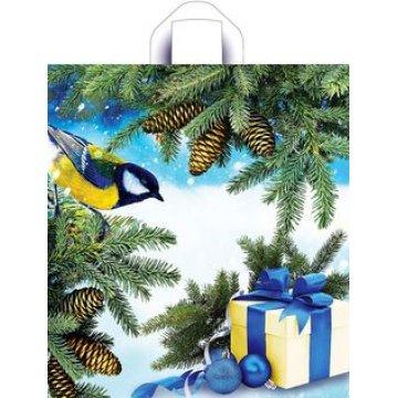 Пакет (мешок) петля 38x42см, ПНД, Синичка на ветке 50 шт/упак. 300 шт./кор