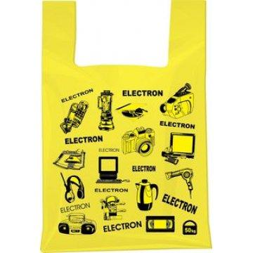 Пакет майка 43+18х64см ,ПНД Электроника(желтый) 100 шт/уп 1500 шт/кор