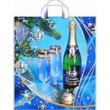 Пакет петля  40х44 см ПВД Новогоднее шампанское фотопечать 50 шт/уп 300 шт/кор