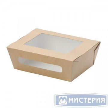 Коробка DoEco 150х115х50мм ECO SALAD 600 BIO, с окном, коричн. (Салатник) 50 шт/упак 500 шт/кор