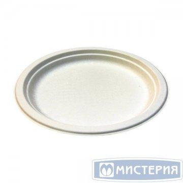 Тарелка кругл., d 260мм, h 22мм, бел., сахарный тростник 50 шт/упак 10 упак/кор