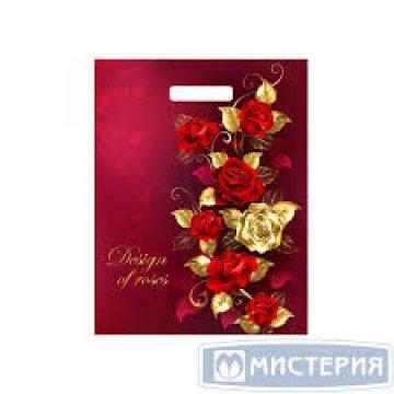 Мешки (пакеты) с вырубной ручкой 31х40 (60) Тико ламинация Голден роуз (0,050/0,500)