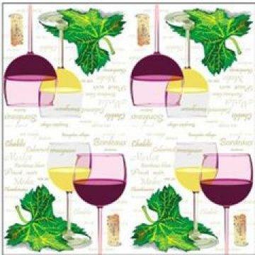 Салфетки Бокалы с вином: красное и белое 25х25см, 1 сл., бум. (40л) 40 шт/уп 105 уп/кор