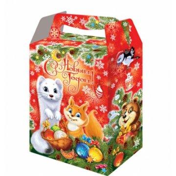 Коробка картонная Новогодняя Пушистики 1 кг 150шт/уп 150шт/кор