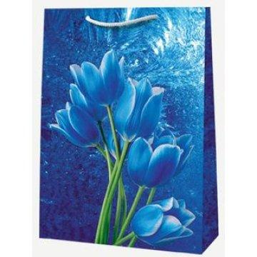 Пакет ламин. Синие цветы  30х40х 12см, бум. 10 шт./уп. 100 шт /кор