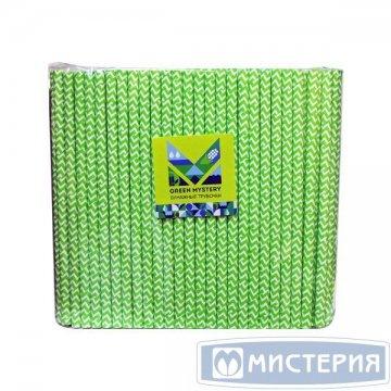Трубочки бумажные Зеленый зигзаг, цвет зелено-белый, d=8мм L = 195мм 250 штук/упак 20 упак/кор