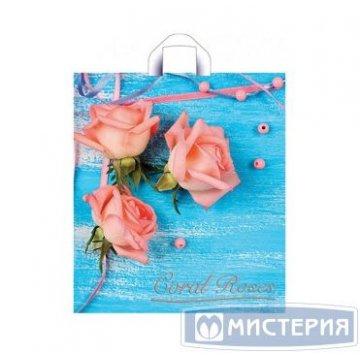 Пакет (мешок) петля ПНД 42х38см, 37мкм, Коралловые розы 50 шт./уп. 300 шт./кор