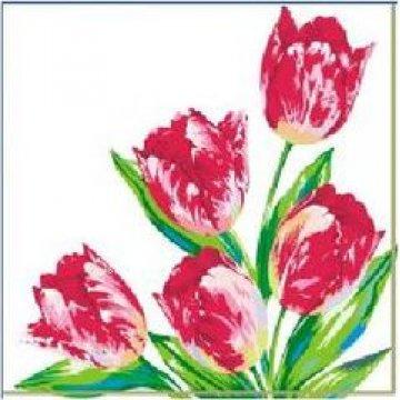 Салфетки Красные тюльпаны 25х25см, 1 сл., бум. (40л) 40 шт/уп 105 уп/кор