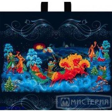 Пакет (мешок) петля ПВД 42х44см, 70мкм, Рождественские гулянья 50 шт./уп. 300 рул./кор