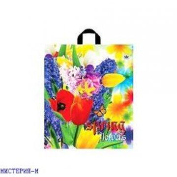 Пакет (мешок) петля ПВД 43,5х40см, 35мкм, Весенние цветы ф/п 50шт/уп 500шт/кор