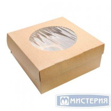 Коробка DoEco 250х250х100мм ECO MUF 9, с окном, коричн/белый 100  шт/уп 100  шт/кор