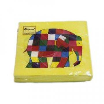 Салфетки 33х33см, 2 сл., Слоники на желтом, бум. 20 шт/упак 15 упак/кор