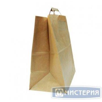 Пакеты (320+200)х370мм  коричн.,70г/м2, крафт бум. с плоской ручкой 250 шт /уп 250 шт /кор